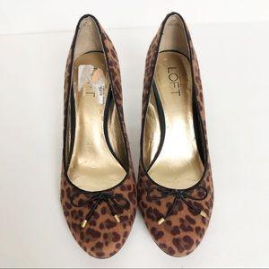 EUC LOFT Animal Print Faye Bow Heels